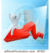 Vector Illustration of a 3d Cheering and Running Silver Man Running on an Arrow over a Chart on Blue by AtStockIllustration