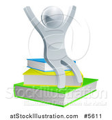 Vector Illustration of a 3d Cheering Silver Man Sitting on Books by AtStockIllustration