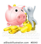 Vector Illustration of a 3d Cheering Silver Man with Coins and a Giant Piggy Bank by AtStockIllustration