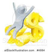 Vector Illustration of a 3d Cheering Silver Man with Gold and Percent Finance Symbols by AtStockIllustration