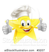 Vector Illustration of a 3d Chef Star Holding Two Thumbs up by AtStockIllustration