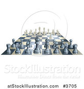 Vector Illustration of a 3d Chess Board with White Having Made the First Move by AtStockIllustration