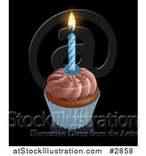 Vector Illustration of a 3d Chocolate Frosted Birthday Cupcake with a Lit Candle by AtStockIllustration