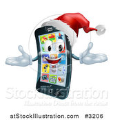 Vector Illustration of a 3d Christmas Cell Phone Wearing a Santa Hat by AtStockIllustration