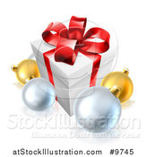 Vector Illustration of a 3d Christmas Gift Box and Baubles by AtStockIllustration