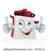 Vector Illustration of a 3d Christmas Gift Present Character Giving Two Thumbs up by AtStockIllustration