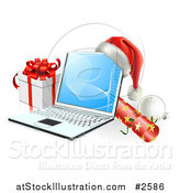 Vector Illustration of a 3d Christmas Laptop with a Hat Cracker Bauble and Gift by AtStockIllustration