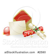Vector Illustration of a 3d Christmas Note with Crackers and a Bauble by AtStockIllustration