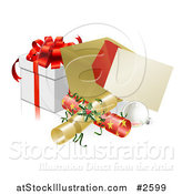 Vector Illustration of a 3d Christmas Party Invitation with Crackers Baubles and a Gift by AtStockIllustration