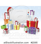 Vector Illustration of a 3d Christmas Sign with Gift Boxes over Blue Snowflakes by AtStockIllustration