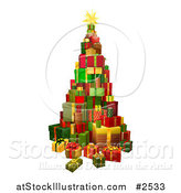 Vector Illustration of a 3d Christmas Tree Gift Tower by AtStockIllustration