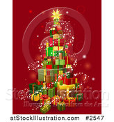 Vector Illustration of a 3d Christmas Tree Gift Tower with Magical Lights over Red by AtStockIllustration