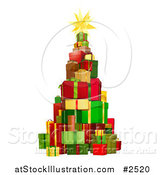 Vector Illustration of a 3d Christmas Tree Tower of Gifts by AtStockIllustration