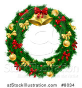 Vector Illustration of a 3d Christmas Wreath of Branches, Holly Berries, Gold and Red Baubles, Bows and Bells by AtStockIllustration