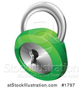 Vector Illustration of a 3d Chrome and Green Key Padlock by AtStockIllustration