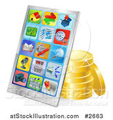 Vector Illustration of a 3d Chrome Smart Phone with Gold Coins by AtStockIllustration