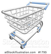Vector Illustration of a 3d Chrome Trolly Shopping Cart with a Blue Handle by AtStockIllustration