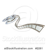 Vector Illustration of a 3d Cinema Film Reel and Strip by AtStockIllustration