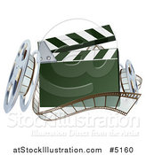 Vector Illustration of a 3d Clapper Board with Film and Reels by AtStockIllustration