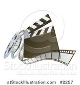 Vector Illustration of a 3d Clapperboard and Film Reel by AtStockIllustration