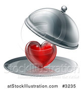 Vector Illustration of a 3d Cloche Revealing a Shiny Red Heart on a Platter by AtStockIllustration