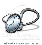 Vector Illustration of a 3d Clock Face on a Stethoscope by AtStockIllustration