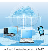 Vector Illustration of a 3d Cloud Electrifying a Network of Computers and a Cell Phone over a Map by AtStockIllustration