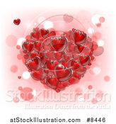 Vector Illustration of a 3d Cluster of Red Hearts over Pink, White and Bokeh by AtStockIllustration