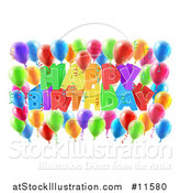 Vector Illustration of a 3d Colorful Happy Birthday Greeting with Confetti Ribbons and Party Balloons by AtStockIllustration