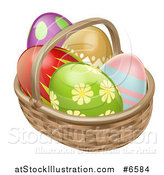 Vector Illustration of a 3d Colorful Patterned Easter Eggs in a Basket by AtStockIllustration