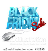 Vector Illustration of a 3d Computer Mouse and Black Friday Sale Design in Blue and Red by AtStockIllustration