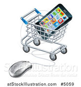 Vector Illustration of a 3d Computer Mouse and Cart with a Smart Phone by AtStockIllustration
