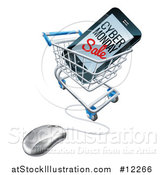 Vector Illustration of a 3d Computer Mouse and Smart Phone with Cyber Monday Sale Text on the Screen in a Shopping Cart by AtStockIllustration