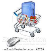 Vector Illustration of a 3d Computer Mouse Connected to a Shopping Cart Full of Luggage and Travel Items by AtStockIllustration