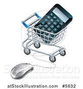 Vector Illustration of a 3d Computer Mouse Connected to a Shopping Cart with a Calculator by AtStockIllustration