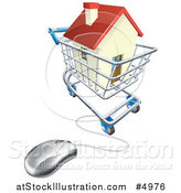 Vector Illustration of a 3d Computer Mouse Connected to an Online Shopping Cart with a House by AtStockIllustration