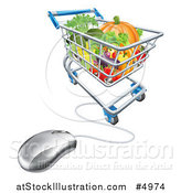 Vector Illustration of a 3d Computer Mouse Connected to an Online Shopping Cart with Produce by AtStockIllustration