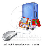 Vector Illustration of a 3d Computer Mouse Connected to Luggage and Travel Items by AtStockIllustration