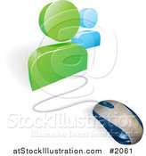Vector Illustration of a 3d Computer Mouse Connected to Social Network Avatars by AtStockIllustration