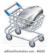 Vector Illustration of a 3d Computer Mouse in a Shopping Cart by AtStockIllustration
