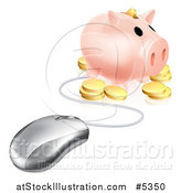 Vector Illustration of a 3d Computer Mouse Wired to a Piggy Bank with Coins by AtStockIllustration