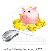 Vector Illustration of a 3d Computer Mouse Wired to a Piggy Bank with Gold Coins by AtStockIllustration