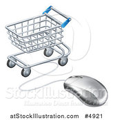 Vector Illustration of a 3d Computer Mouse Wired to a Shopping Cart by AtStockIllustration