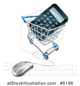 Vector Illustration of a 3d Computer Mouse Wired to a Shopping Cart with a Calculator by AtStockIllustration