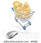 Vector Illustration of a 3d Computer Mouse Wired to SALE in a Shopping Cart by AtStockIllustration