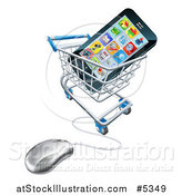 Vector Illustration of a 3d Computer Shopping Cart with a Cell Phone Inside by AtStockIllustration