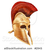 Vector Illustration of a 3d Corinthian Bronze Trojan Spartan Roman Greek Helmet by AtStockIllustration