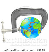 Vector Illustration of a 3d Cracking Earth in a Tight Clamp by AtStockIllustration