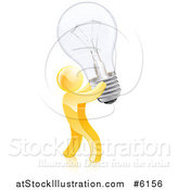 Vector Illustration of a 3d Creative Gold Man Carrying a Light Bulb by AtStockIllustration