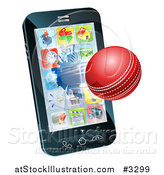 Vector Illustration of a 3d Cricket Ball Flying Through and Breaking a Cell Phone Screen by AtStockIllustration